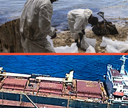 Oil Spill Beach clean up and stranded tanker